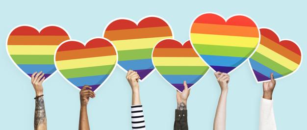 LGBT Herz Grafik gehalten von Menschen mit verschiedener Hautfarbe